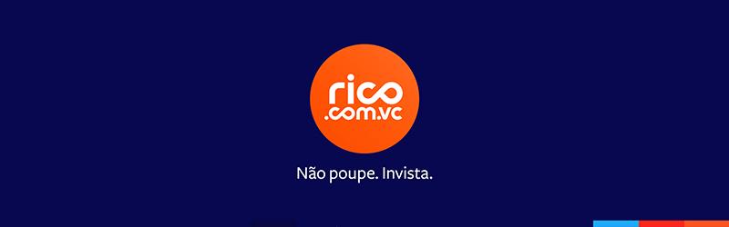 """Logo da Rico seguido por texto """"Não poupe. Invista."""""""