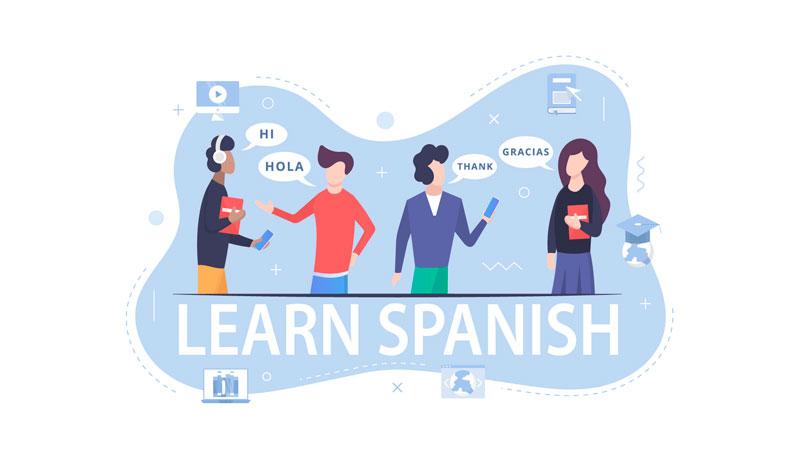 grupo de quatro pessoas conversando em espanhol