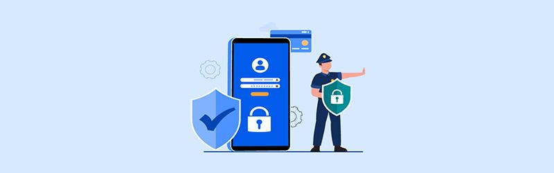 Um celular com gráficos indicando segurança através de pagamento online via cartão