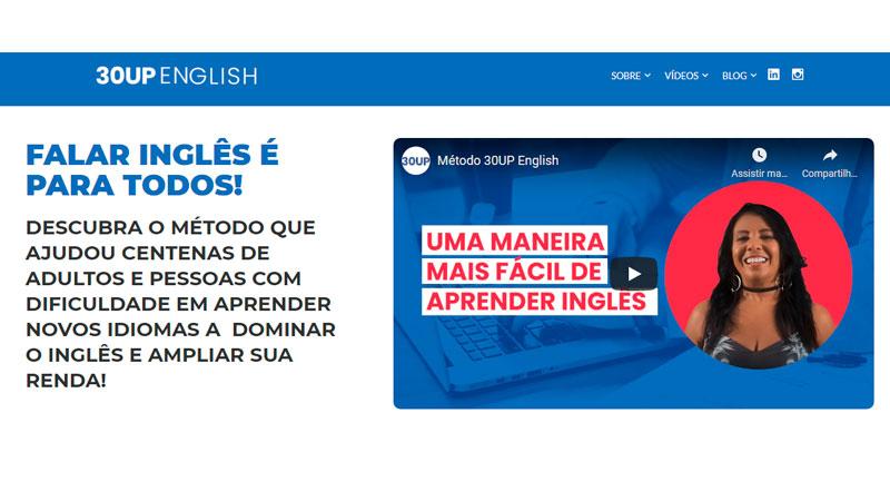 página inicial do curso 30UP English