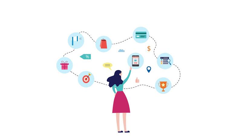 Gráfico de uma figura feminina apontando para ícones relacionados à produtos, vendas, marketing