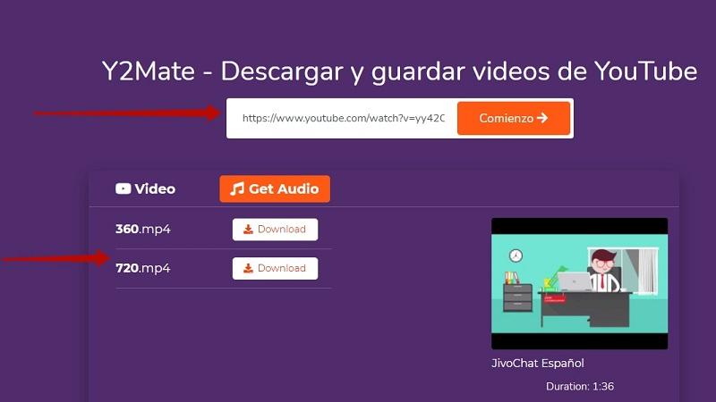 Descargar video de Facebook con Y2mate