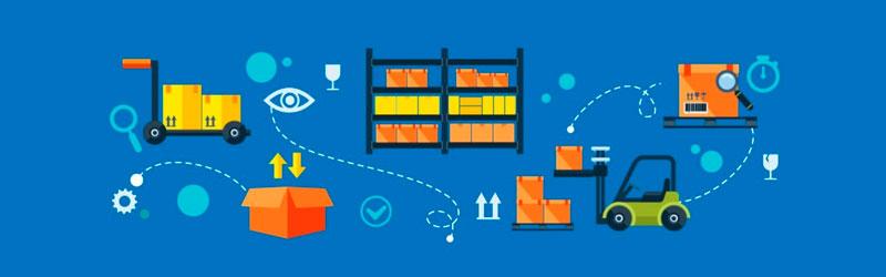 Elementos de gestão de estoque, caixas e carrinhos