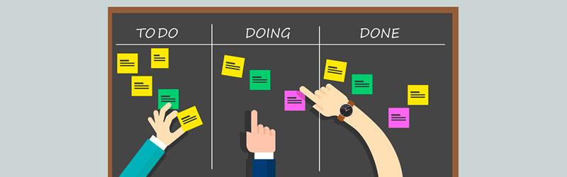 """quadro com post its divididos nas áreas """"para fazer"""", """"fazendo"""" e """"feito"""""""
