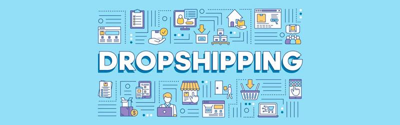 Texto dropshipping rodeado por elementos gráficos que representam o negócio sem estoque