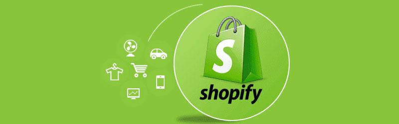 Logo da empresa shopify ao lado de ícones de produtos