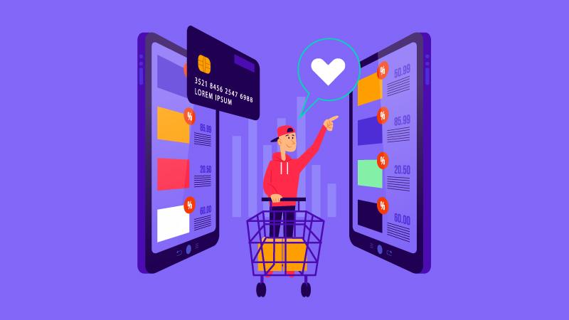 Imagem vetorizada de um consumidor fazendo compras pelo telefone com um carrinho de compras e cartão de crédito