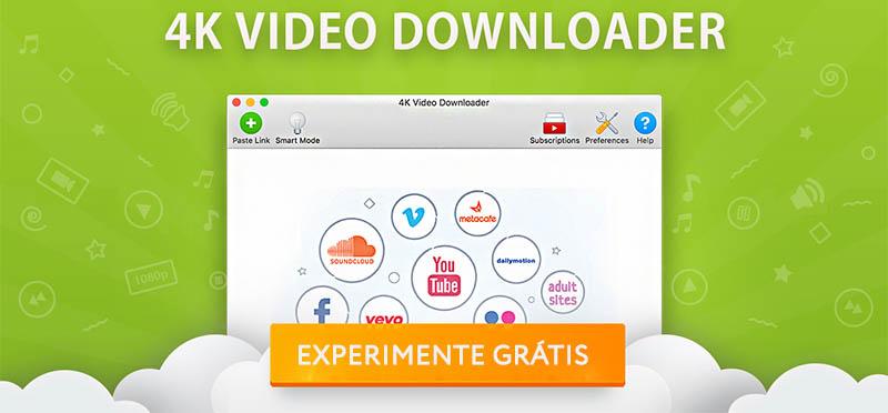 Logo da 4K video downloader e botão para que você possa acessar e começar a baixar gratuitamente.