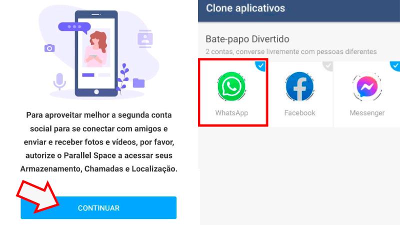 Imagem mostrando o aplicativo Parallel Space para você ter dois WhatsApp