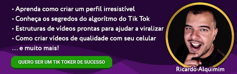 Banner do curso Tiktoker de Sucesso destacando os módulos oferecidos.