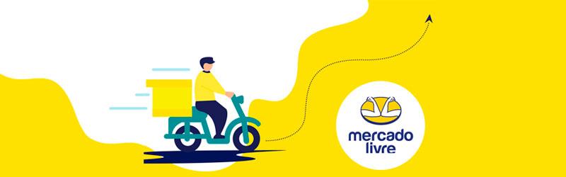 Ilustração de um entregador de moto com a logo do Mercado Livre