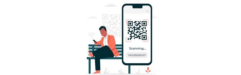 Pessoa sentada em um banco usando QR Code