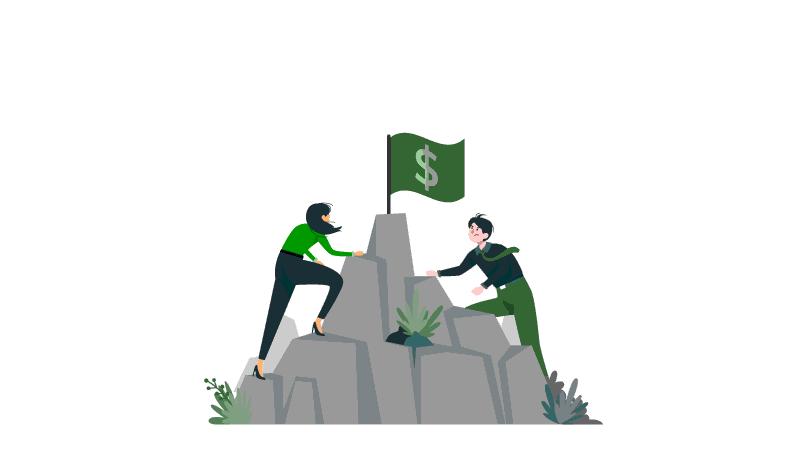 Imagem vetorizada de duas pessoas subindo a montanha, uma delas na frente querendo pegar a bandeira que está no topo da montanha.