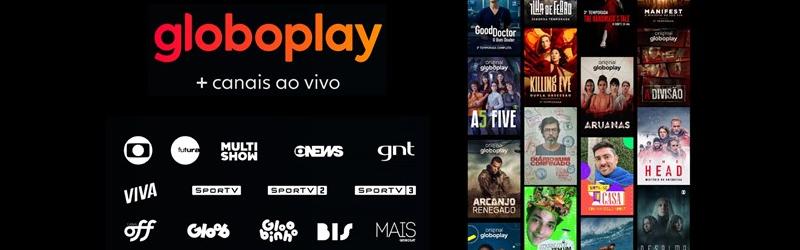 Imagem com logo da Globoplay e logo de diversos canais GloboSat, como multishow, GNT, GloboNews, e alguns posters de filmes.