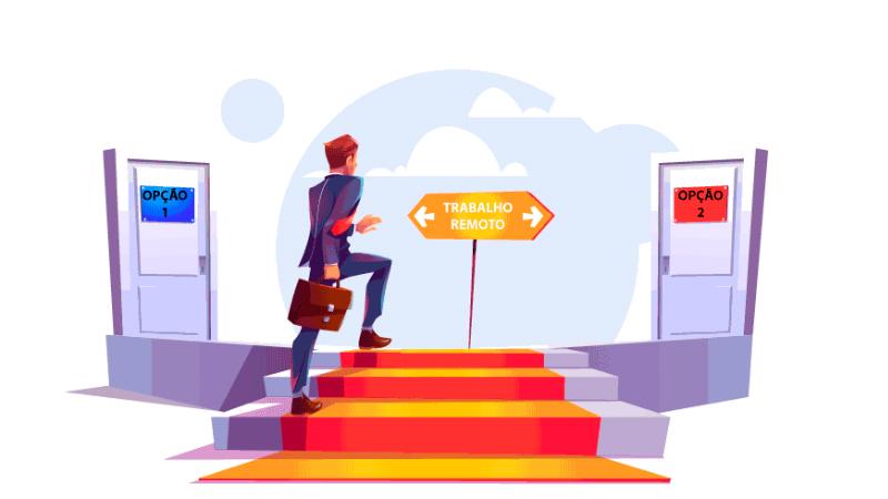 Imagem vetorizada de um trabalhador voltando para casa e tendo que escolher qual das opções de porta que oferecem