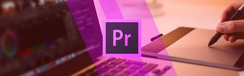 Logo do Adobe Premiere com um editor usando um computador ao fundo