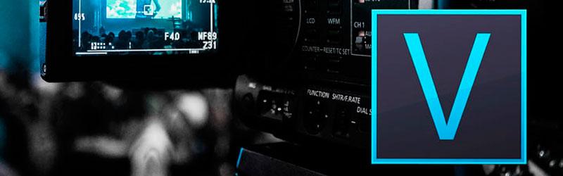 Câmera em segundo plano com o logo do Vegas Pro em primeiro plano