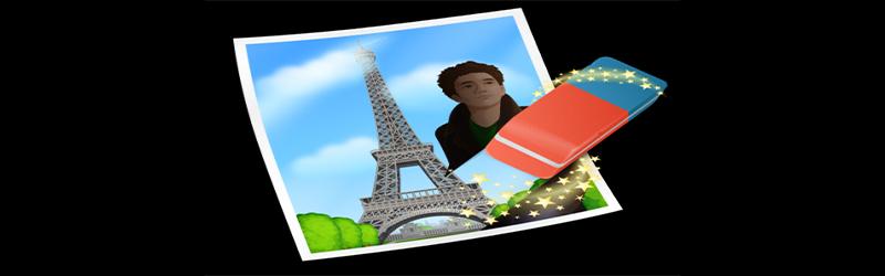 Imagem logo WebIn Paint, uma foto da torre Eiffel, com uma borracha apagando uma pessoa