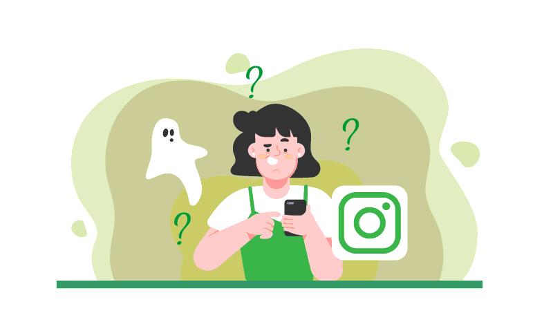 Imagem vetorizada de uma mulher com um celular na mão, um fantasma e o logotipo do Instagram. Vários pontos de interrogação sob a cabeça da mulher