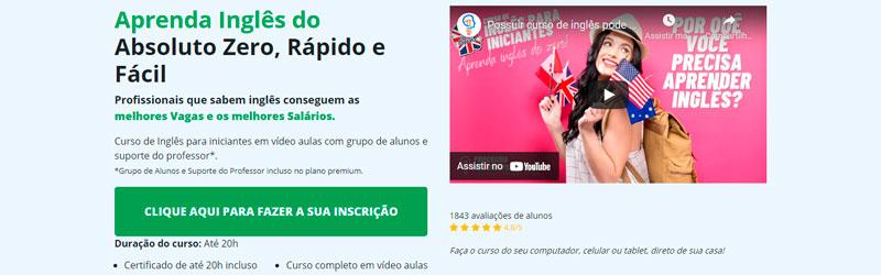Banner com informações sobre o curso Inglês para Iniciantes