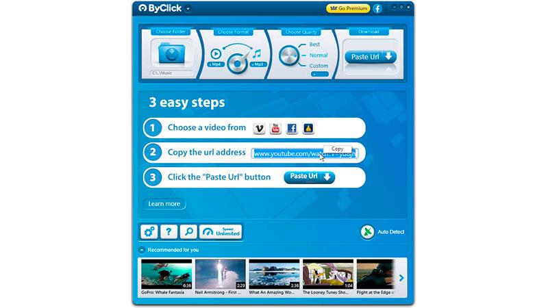 Captura de tela do programa ByClick Downloader