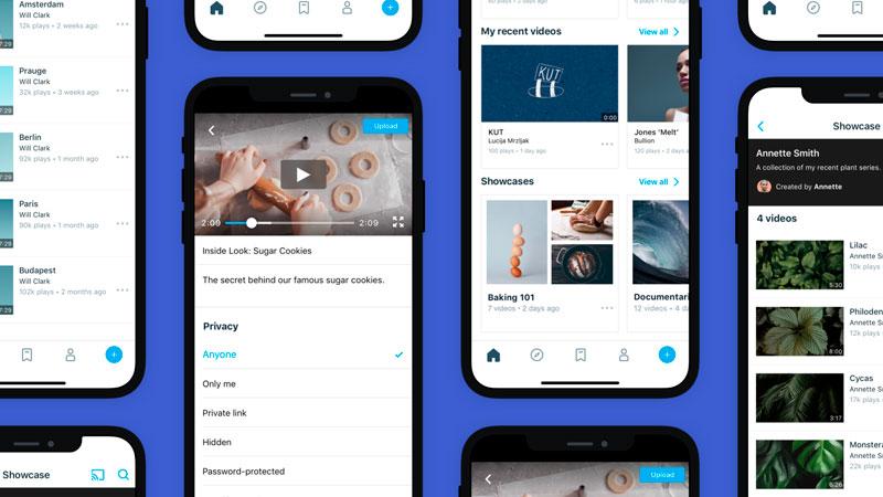 Vários smartphones com vídeos abertos no app Vimeo