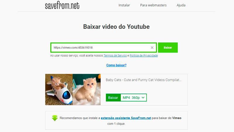 Caputra de tela do site SaveFromNet