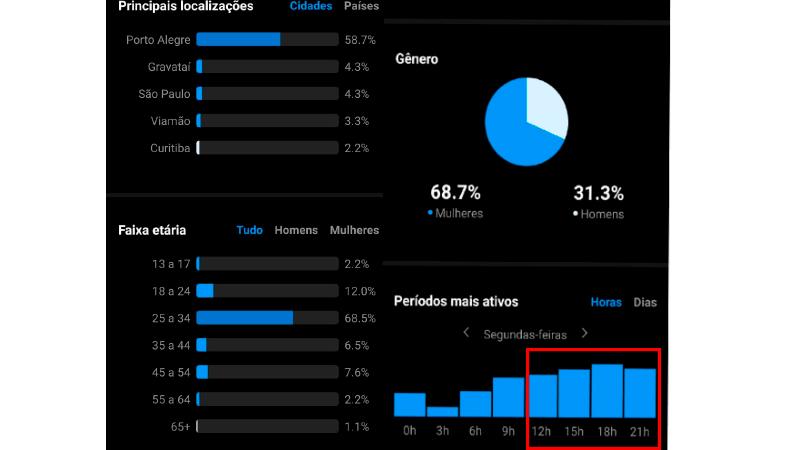 Print da tela de um celular no aplicativo do Instagram mostrando como encontrar os dados dos seus seguidores na ferramenta Insights