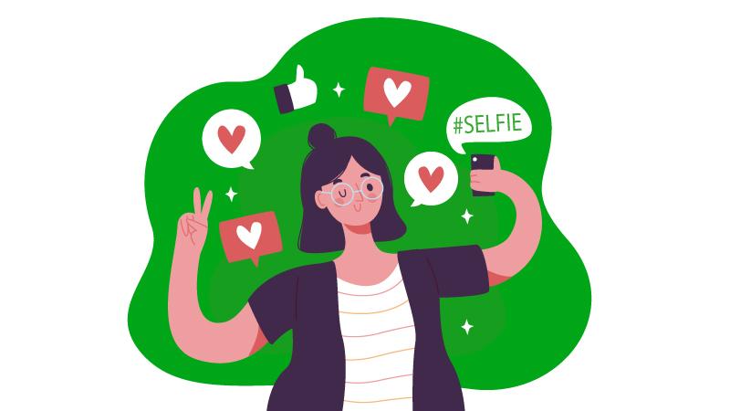 Imagem vetorizada de uma mulher segurando um celular para tirar uma selfie com vários ícones de curtida.