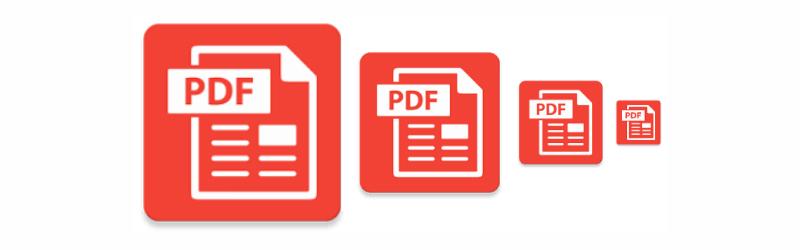 Imagem de ícones de arquivos em PDF diminuindo de tamanho da direita para a esquerda