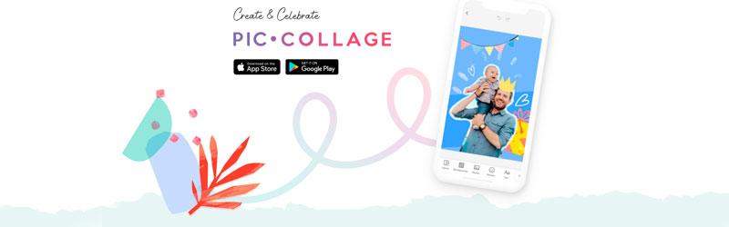 Banner com elementos gráficos, smartphone e logo do PicCollage