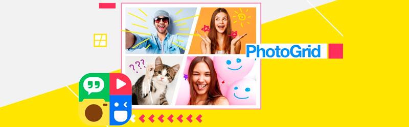 Banner com fotos, elementos gráficos e o logo do PhotoGrid