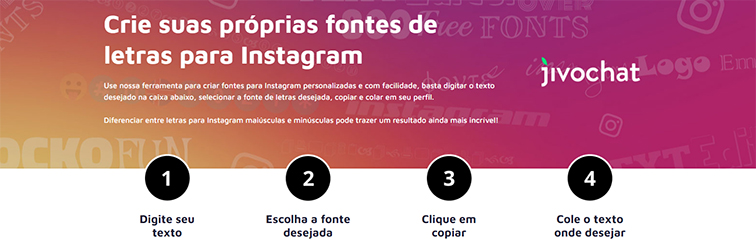 Captura de tela da ferramenta para criar fontes para Instagram do JivoChat