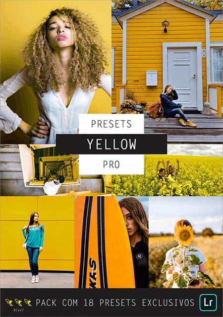 Conjunto de fotos com elementos amarelos em destaque