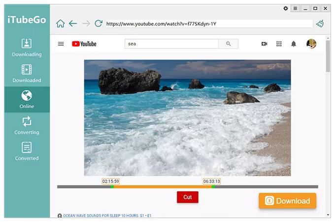 Inteface do conversor de vídeo iTubeGo