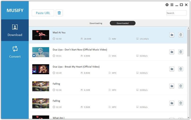 Captura de tela do programa para baixar música Musify exibindo diversas músicas em download