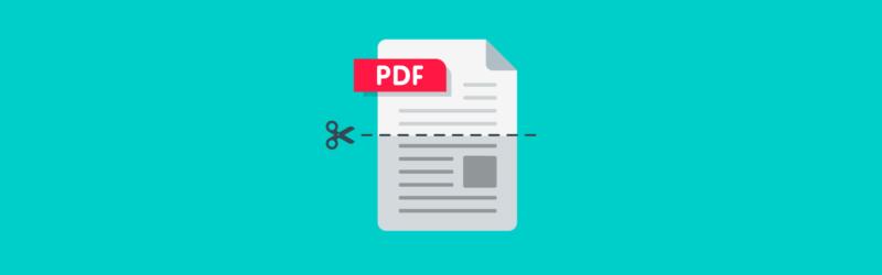 Arte de uma folha de um PDF com uma tesoura cortando ao meio