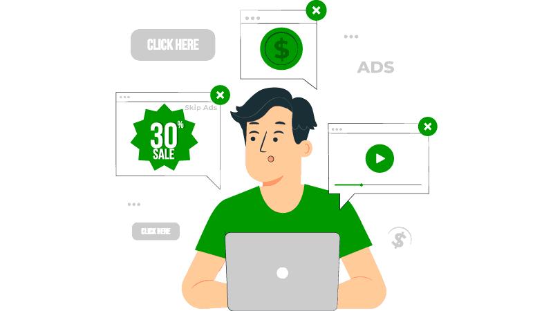 Imagem vetorizada de um consumidor acessando sites e se deparando com anúncios de tráfego pago