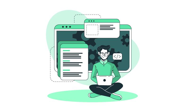 Imagem vetorizada de um homem sentado programando com um notebook e um monitor atrás dele.