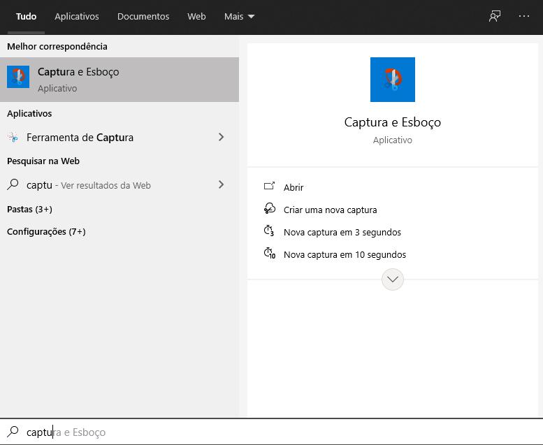 Tela do menu Iniciar do Windows com a barra de pesquisa aberta procurando Captura e Esboço