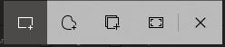 Recorte da tela de captura do Windows com os botões de seleção do Captura e Esboço