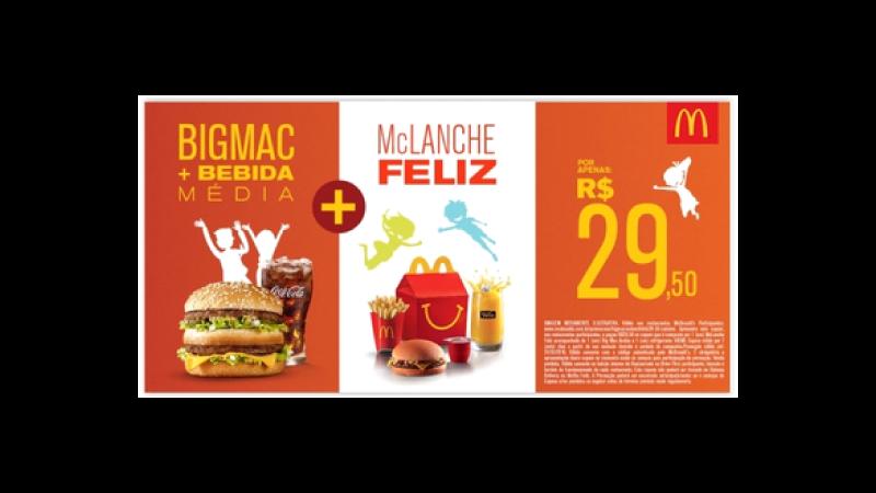 Imagem de uma propaganda do McDonalds mostrando hambúrguer e outros combos
