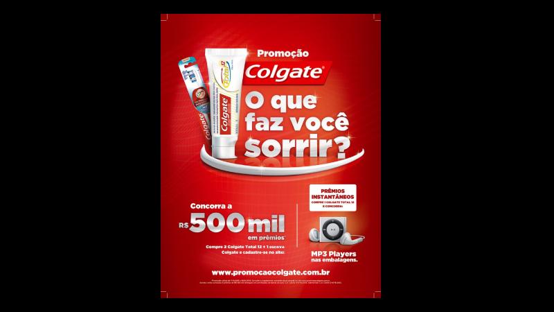 Imagem de uma propaganda de um sorteio da marca Colgate