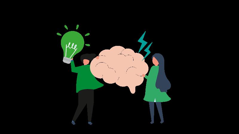 Imagem vetorizada de duas pessoas segurando um cérebro e uma lâmpada