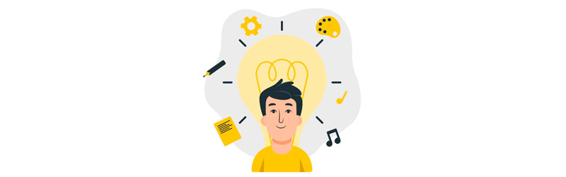 Homem com uma grande lâmpada atrás e ícones: lápis, engrenagem, paleta de cores, nota musical e papel