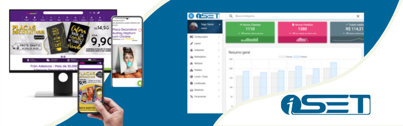Banner com logo da iSET exibindo a dashboard da plataforma