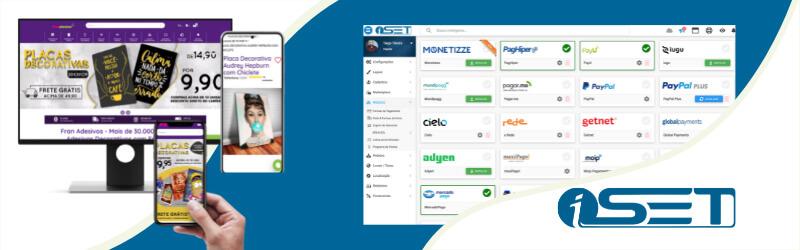 Banner com logo da iSET exibindo diferentes modalidades de pagamento