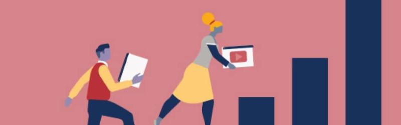 Uma arte de duas pessoas subindo em um gráfico de barras verticais segurando a logo do YouTube