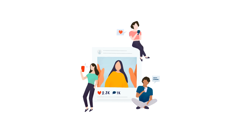 Imagem vetorizada de pessoas utilizando as redes sociais para ser influencer digital