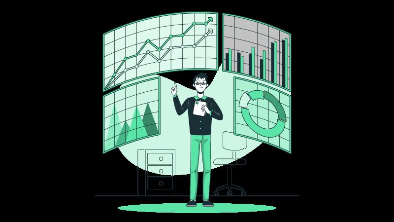 Imagem vetorizada de um homem analisando dados de KPI